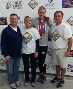 Pictured left to right: Mike Wetrich, Sandy Delker-Holbert, Jennie Finch, Ed Kieff